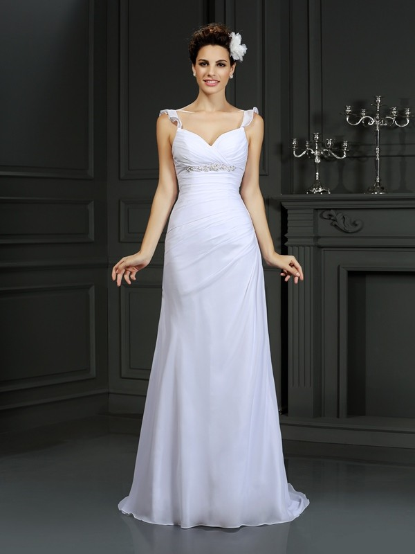 Mermaid Straps Beading Sleeveless Long Chiffon Wedding Dresses