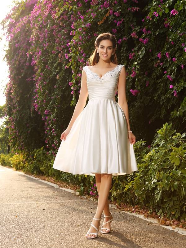 A-Line V-neck Satin Knee-Length Wedding Dresses