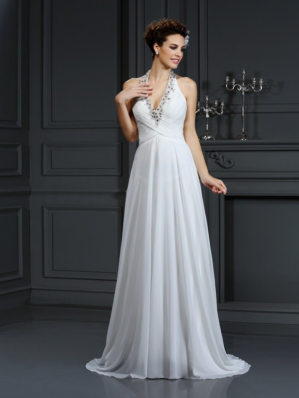 A-Line Halter Beading Sleeveless Long Chiffon Wedding Dresses