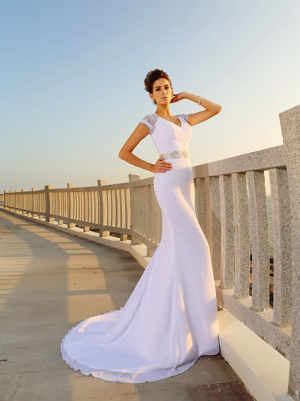 Sheath V-neck Beading Sleeveless Long Chiffon Beach Wedding Dresses