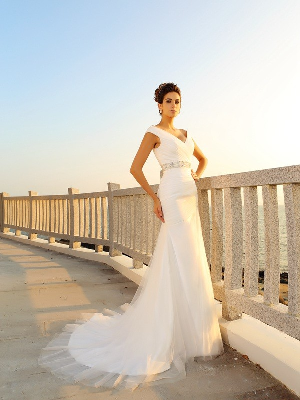 Sheath V-neck Pleats Sleeveless Long Net Beach Wedding Dresses