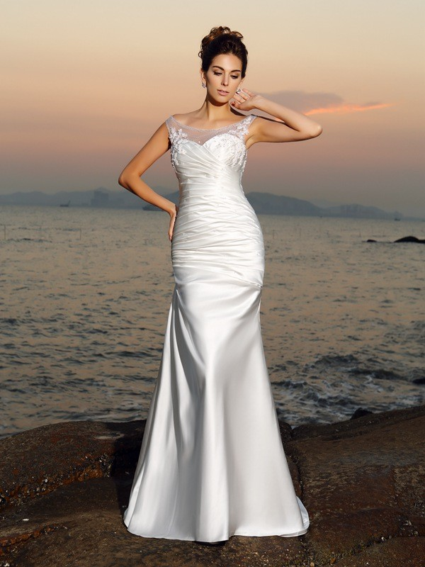 Mermaid Scoop Beading Sleeveless Long Satin Beach Wedding Dresses
