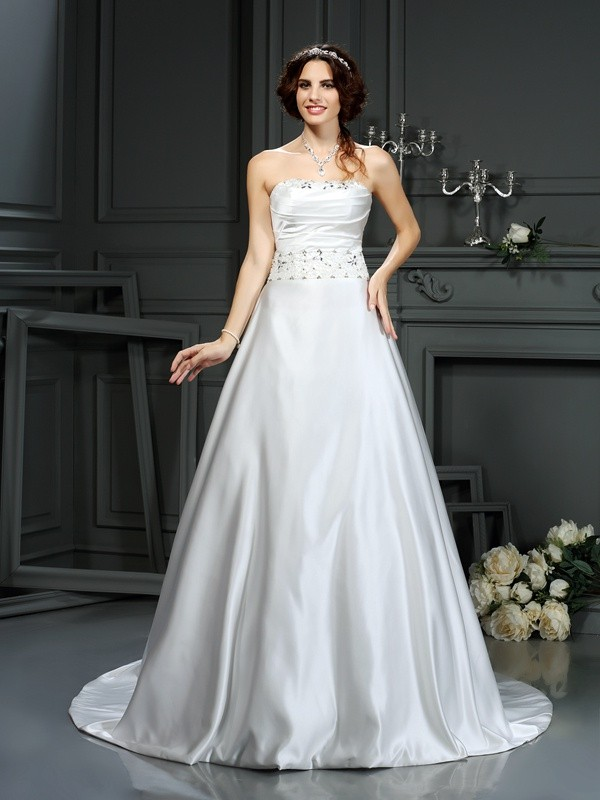 A-Line Strapless Beading Sleeveless Long Satin Wedding Dresses