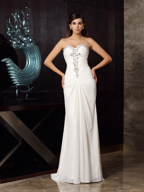 Mermaid Sweetheart Beading Sleeveless Long Chiffon Dresses