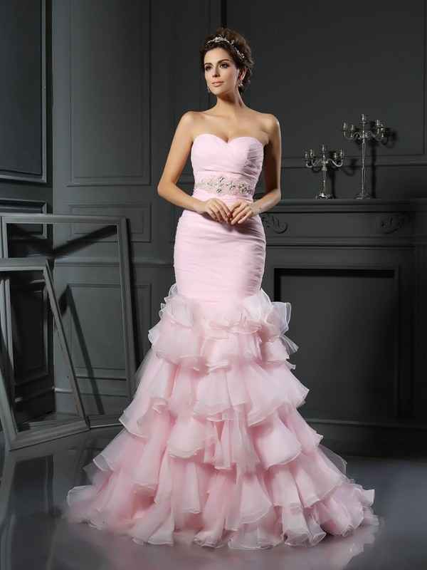 Mermaid Sweetheart Beading Sleeveless Long Organza Wedding Dresses
