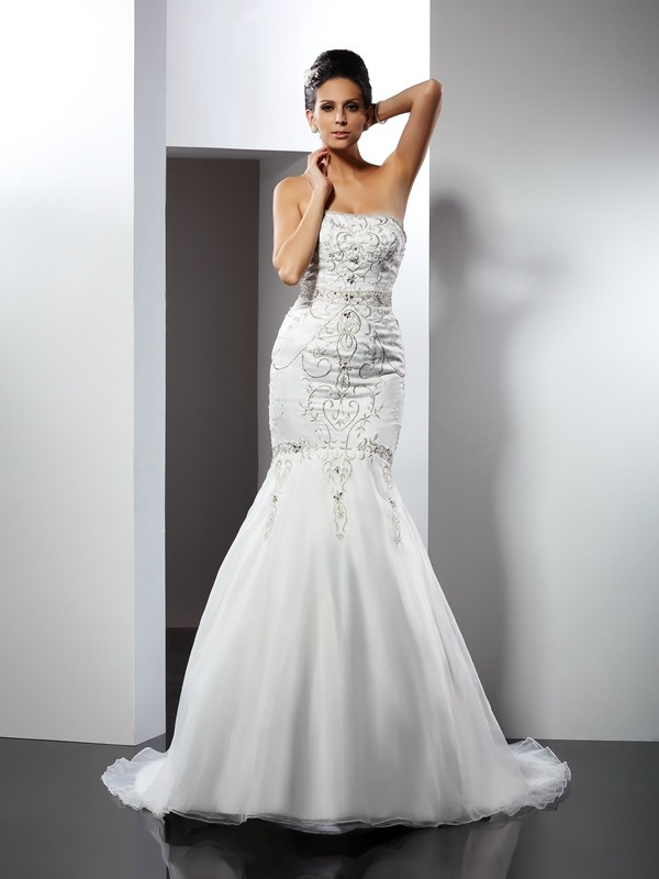Mermaid Strapless Applique Sleeveless Long Satin Wedding Dresses
