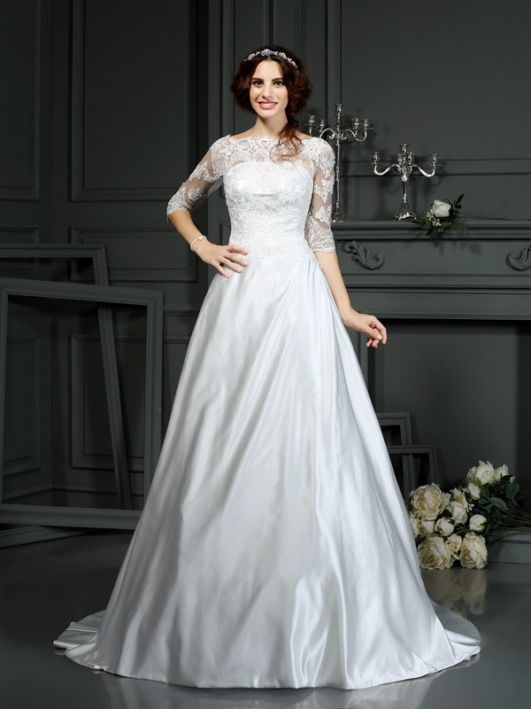 A-Line Bateau Lace 1/2 Sleeves Long Satin Wedding Dresses