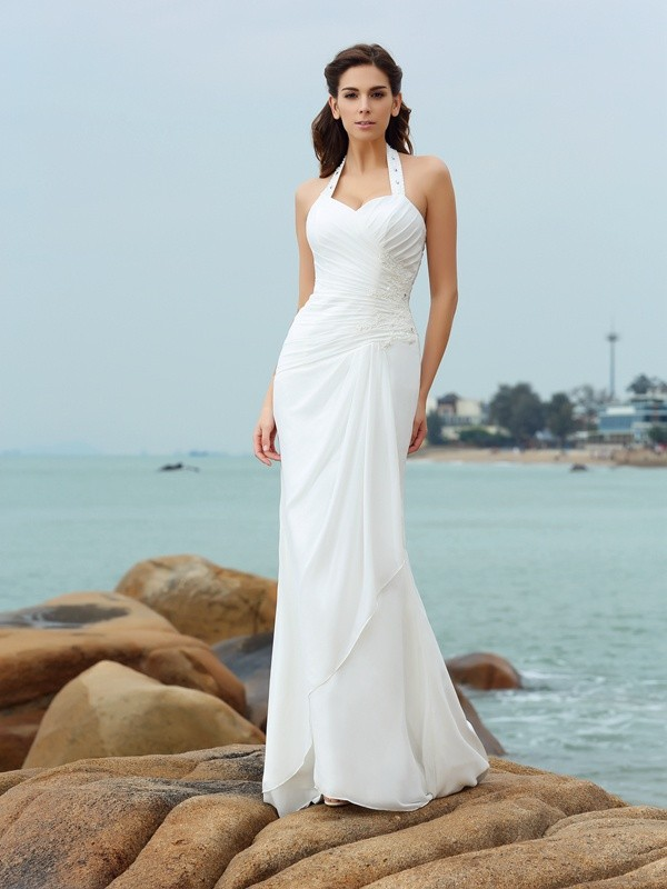 Sheath Halter Pleats Sleeveless Long Chiffon Beach Wedding Dresses