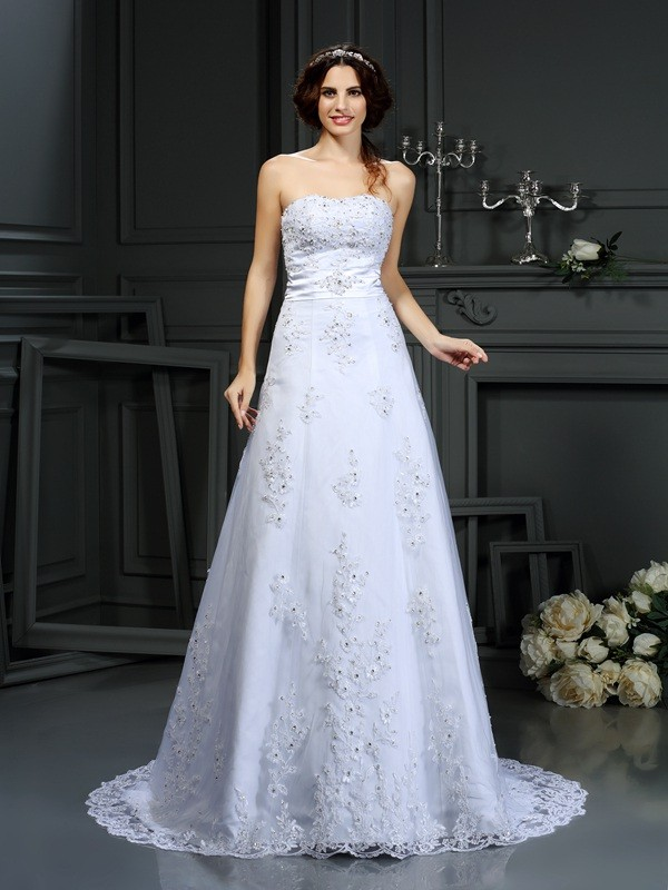 A-Line Strapless Applique Sleeveless Long Satin Wedding Dresses
