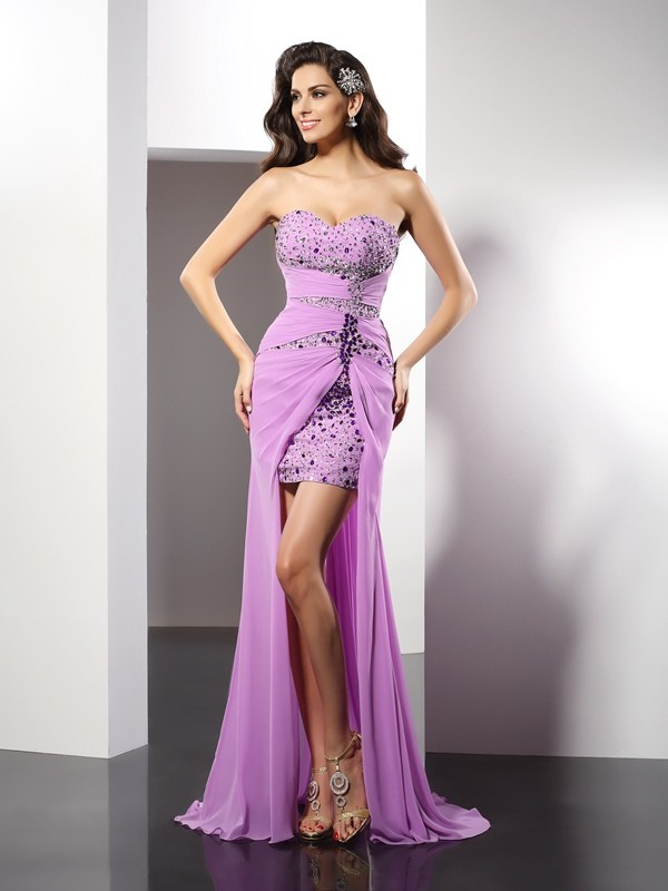 Sheath Sweetheart Beading Sleeveless Long Silk like Satin Dresses