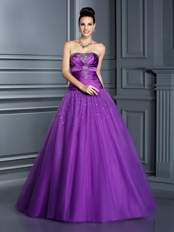 Ball Gown Strapless Sleeveless Long Taffeta Debs Dress