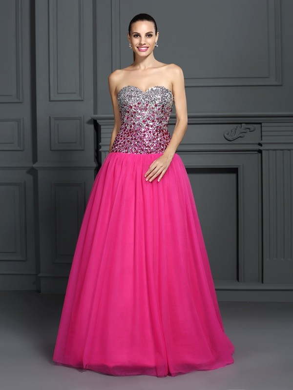 Ball Gown Sweetheart Sleeveless Long Organza Debs Dress