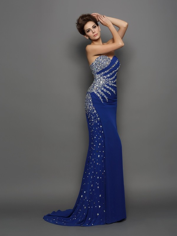Mermaid Sweetheart Rhinestone Sleeveless Long Chiffon Dresses