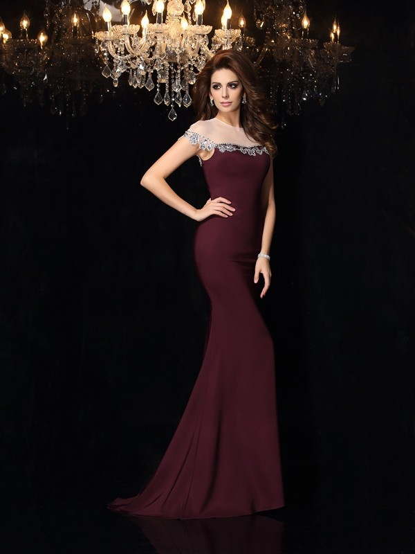 Mermaid High Neck Applique Sleeveless Long Elastic Woven Satin Dresses