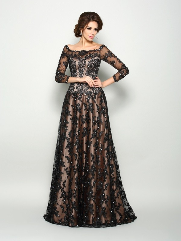 A-Line Off-the-Shoulder Lace 3/4 Sleeves Long Satin Dresses