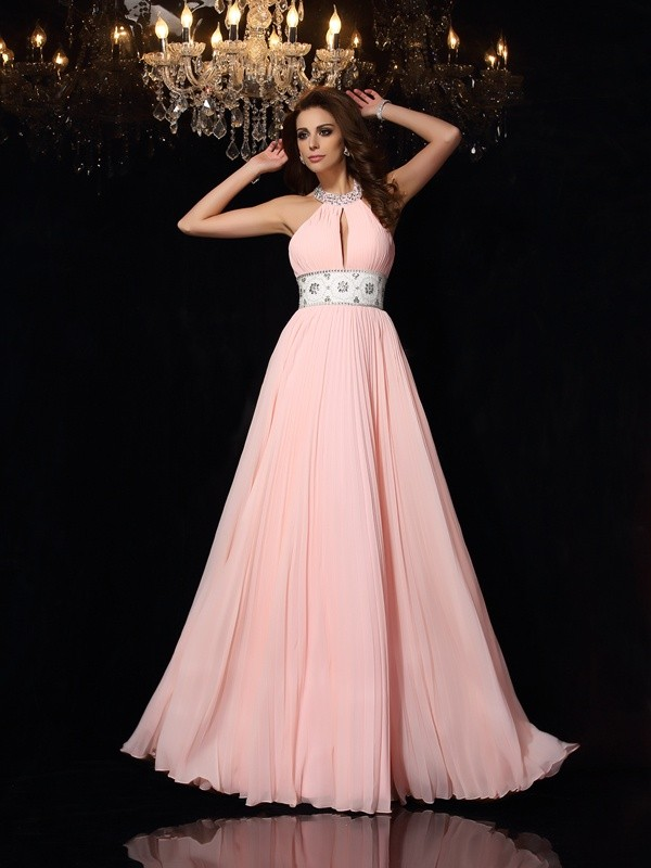 A-Line High Neck Pleats Sleeveless Long Chiffon Dresses