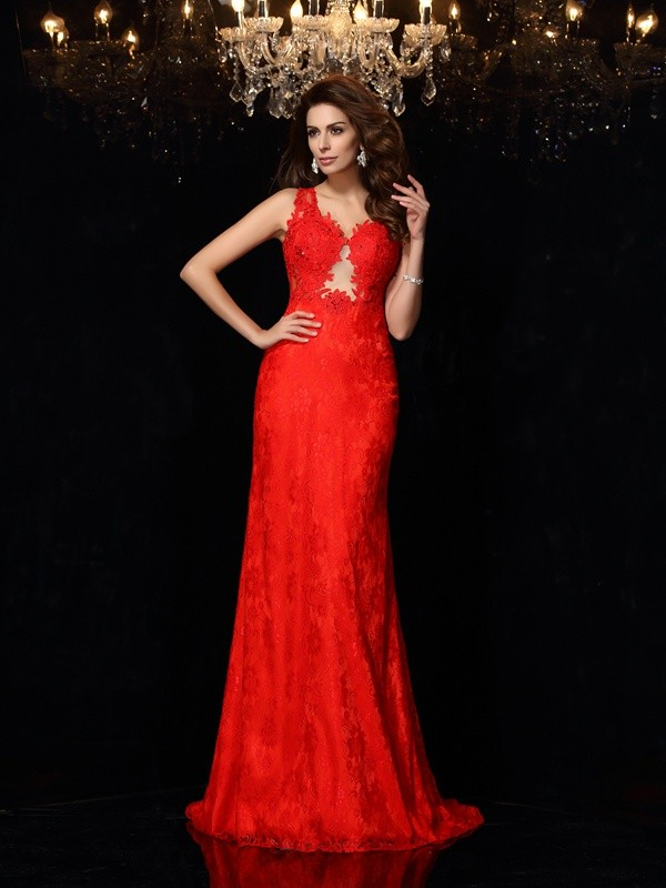 Sheath V-neck Lace Sleeveless Long Satin Dresses