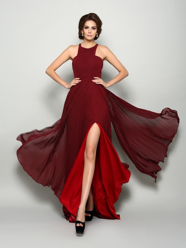 A-Line High Neck Ruched Sleeveless Long Chiffon Dresses