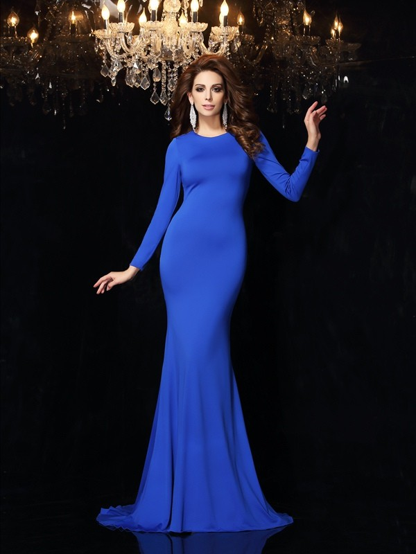Mermaid Scoop Long Sleeves Long Spandex Dresses