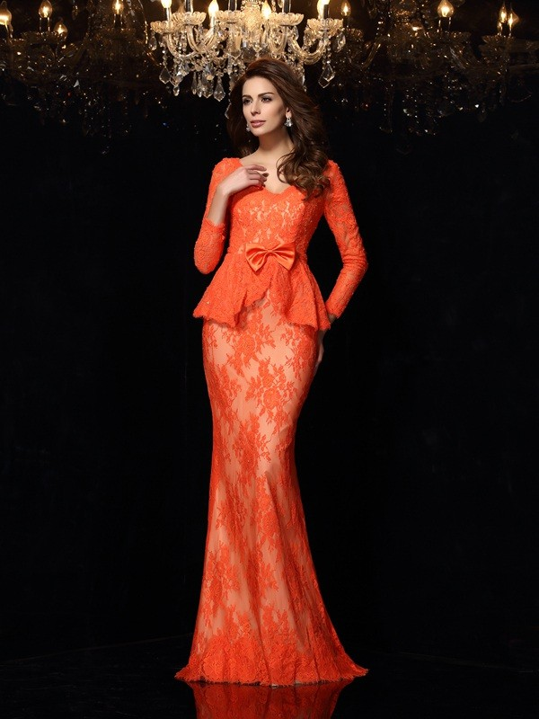 Sheath V-neck Bowknot Long Sleeves Long Lace Dresses