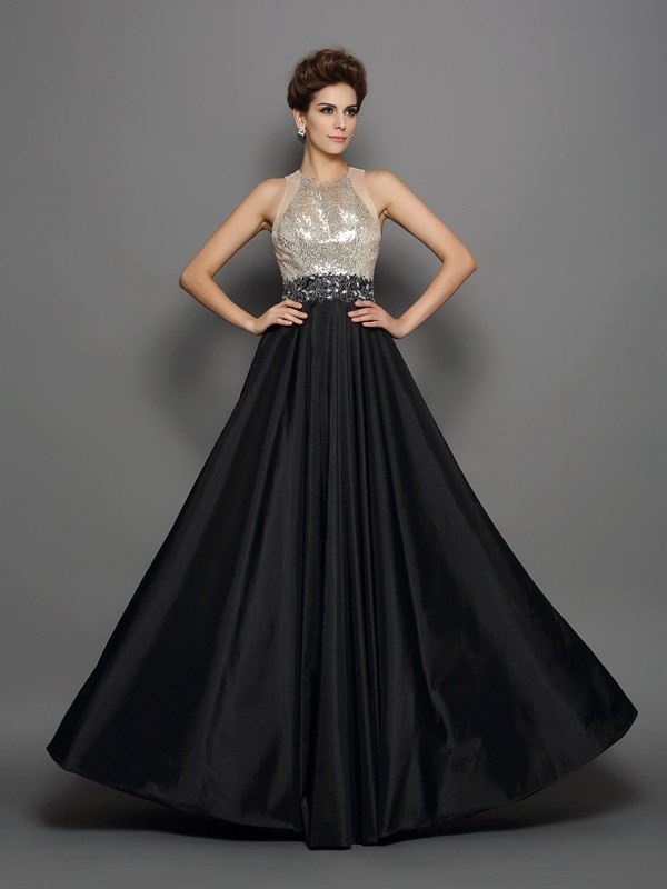 A-Line High Neck Sequin Sleeveless Long Taffeta Dresses