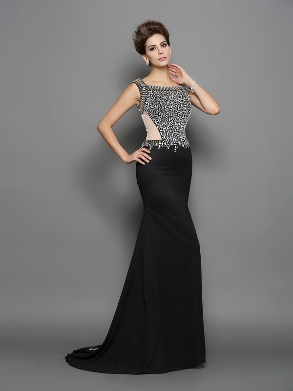 Mermaid Square Beading Sleeveless Long Chiffon Dresses
