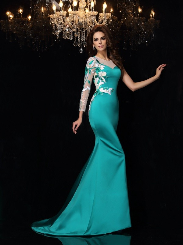Mermaid Scoop Beading Sleeveless Long Satin Dresses
