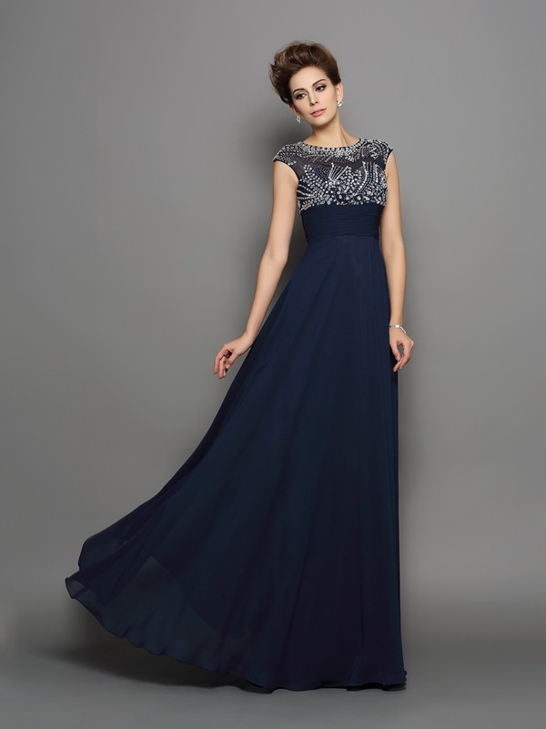 A-Line Scoop Beading Short Sleeves Long Chiffon Dresses