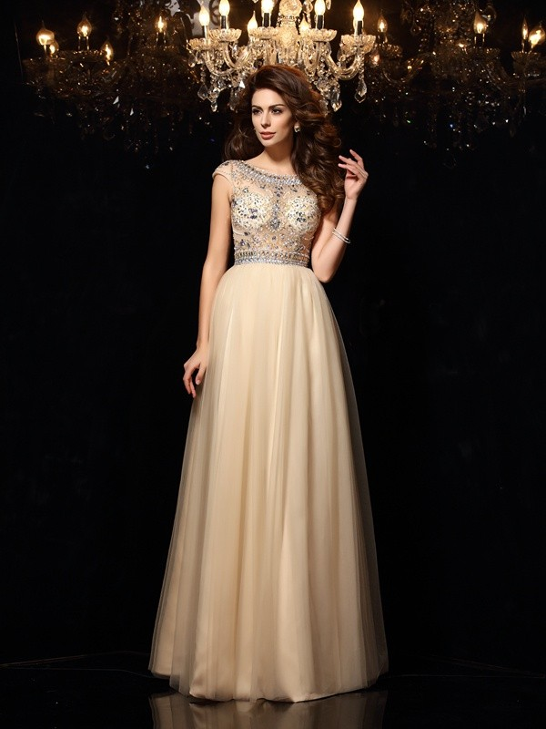 A-Line Scoop Beading Sleeveless Long Net Dresses