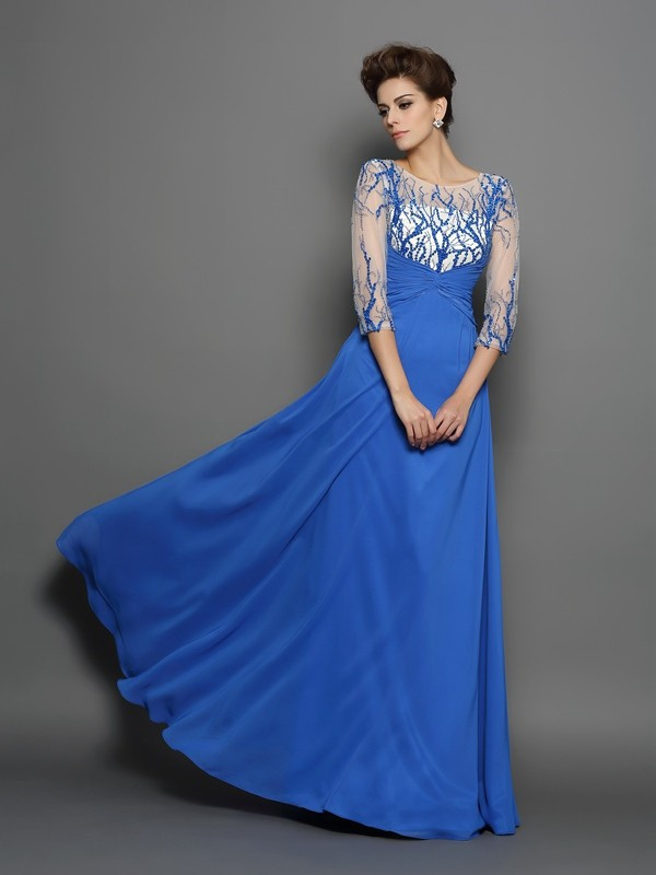 A-Line Scoop Applique 1/2 Sleeves Long Chiffon Dresses