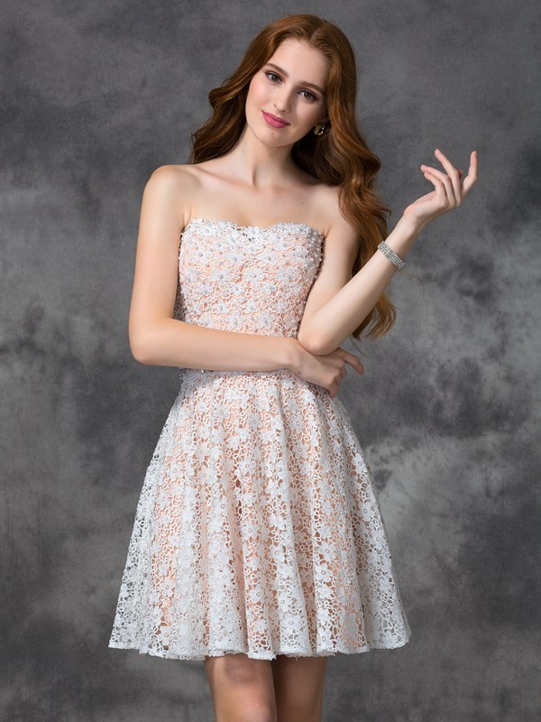 A-Line Sweetheart Lace Sleeveless Short Lace Cocktail Dresses
