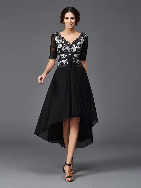 A-Line V-neck Lace 1/2 Sleeves High Low Chiffon Dresses