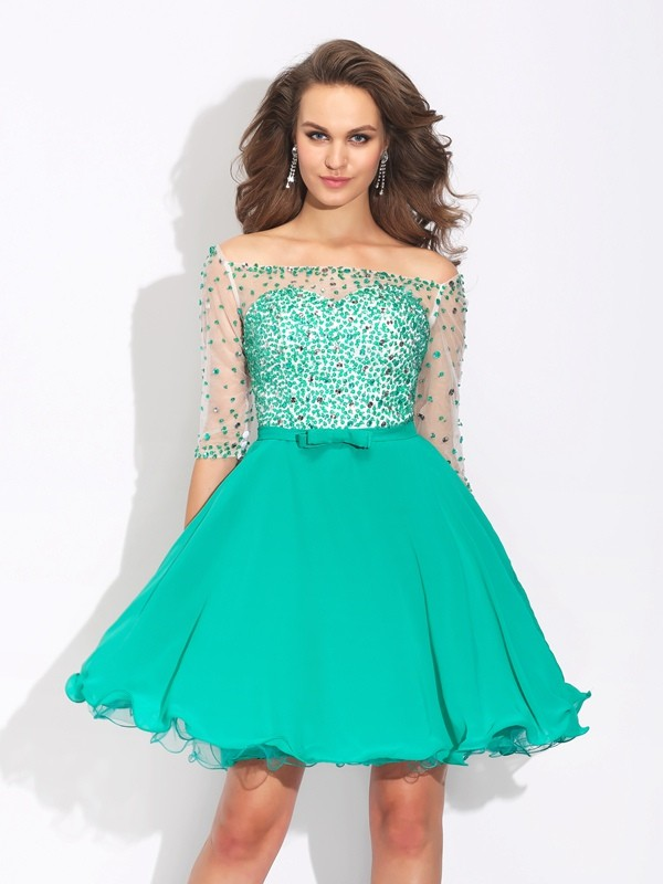 A-Line Off-the-Shoulder Beading 1/2 Sleeves Short Chiffon Dresses