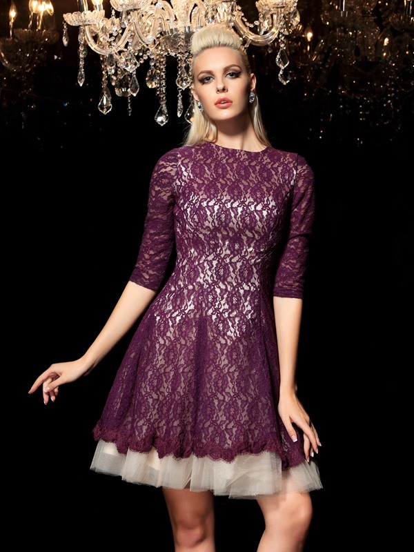 A-Line Sheer Neck Lace 1/2 Sleeves Short Lace Cocktail Dresses