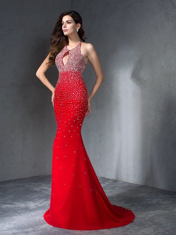 Mermaid Halter Beading Sleeveless Long Chiffon Dresses