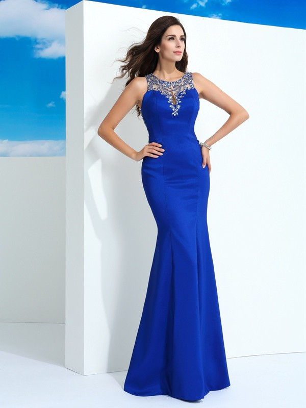 Sheath Sheer Neck Beading Sleeveless Long Chiffon Dresses
