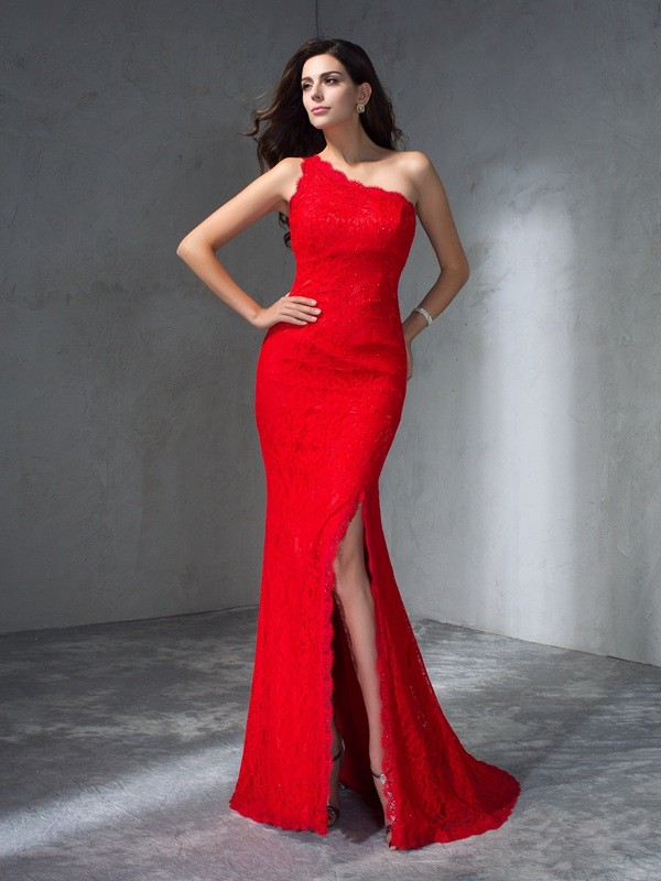 Mermaid One-Shoulder Sleeveless Long Lace Dresses