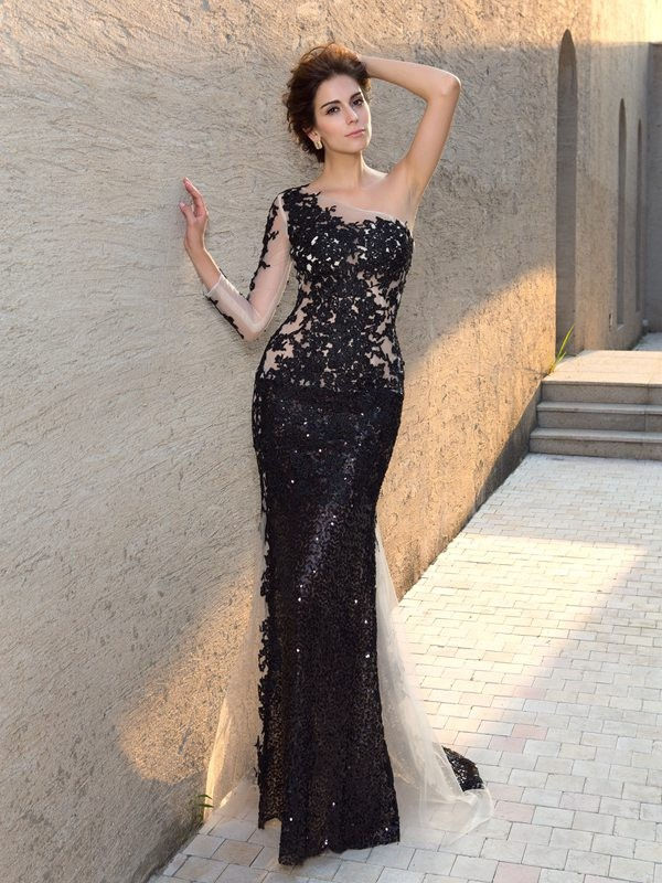 Sheath One-Shoulder Sequin Long Sleeves Long Lace Dresses
