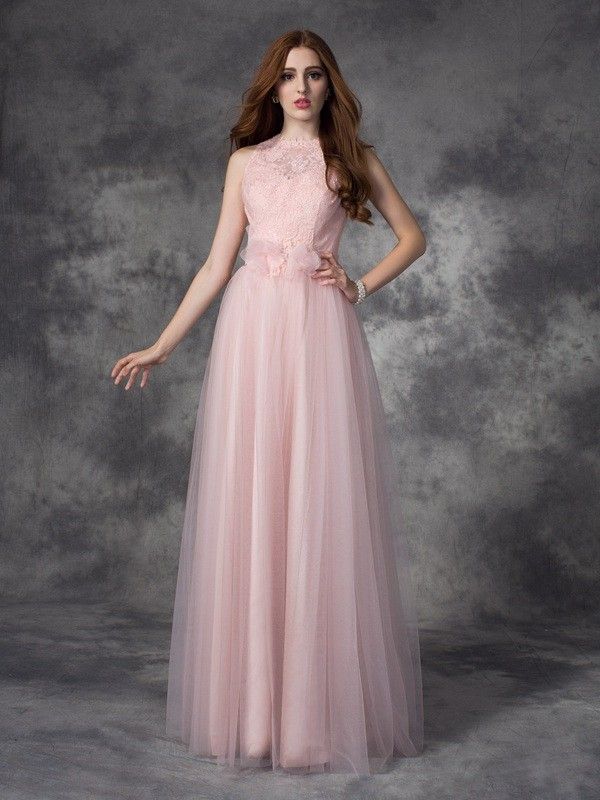 A-Line Bateau Hand-Made Flower Sleeveless Long Net Dresses
