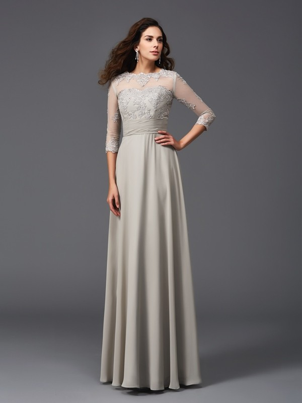 A-Line Scoop Applique 3/4 Sleeves Long Chiffon Dresses