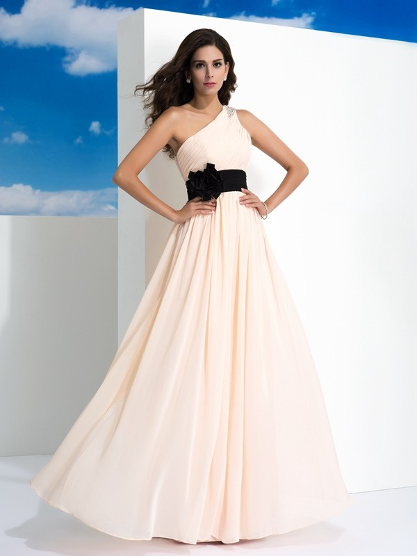 A-Line One-Shoulder Sash/Ribbon/Belt Sleeveless Long Chiffon Dresses