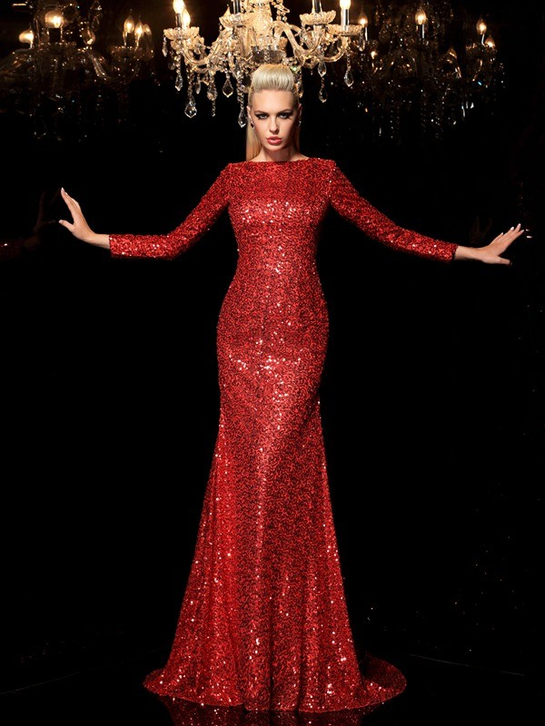 Sheath Scoop Sequin Long Sleeves Long Sequins Dresses