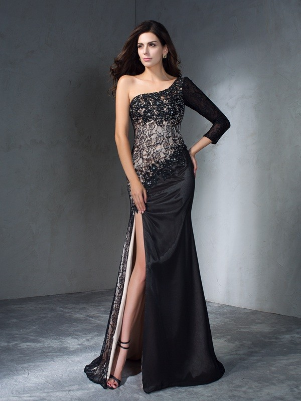 Mermaid One-Shoulder 3/4 Sleeves Long Lace Dresses