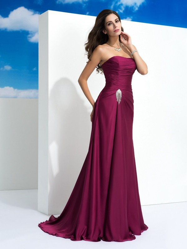 A-Line Strapless Pleats Sleeveless Long Satin Chiffon Dresses