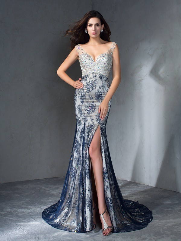 Mermaid V-neck Beading Sleeveless Long Lace Dresses