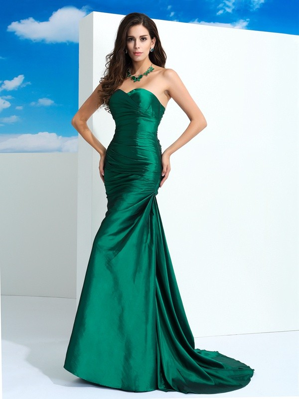 Sheath Sweetheart Pleats Sleeveless Long Taffeta Dresses