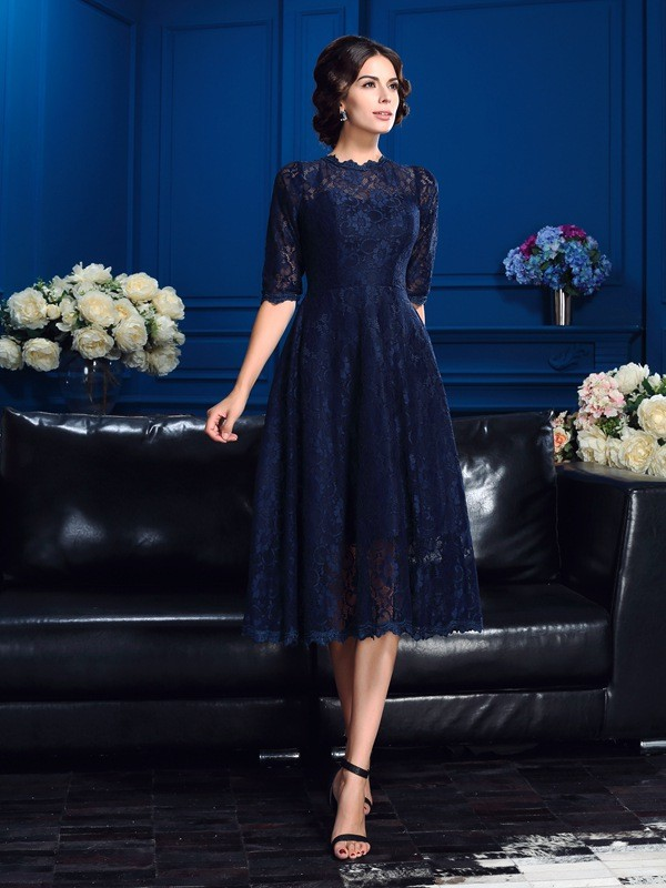 A-Line Jewel Lace 1/2 Sleeves Short Lace Mother of the Bride Dresses