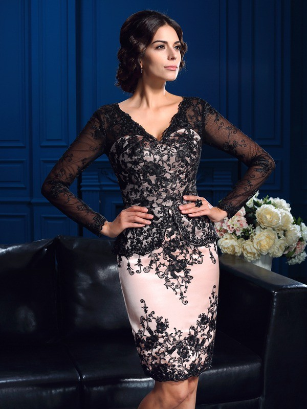 Sheath V-neck Applique Long Sleeves Short Lace Mother of the Bride Dresses
