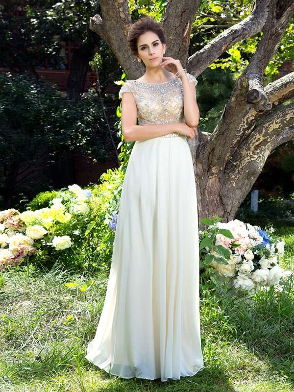 A-Line Sheer Neck Rhinestone Short Sleeves Long Chiffon Dresses