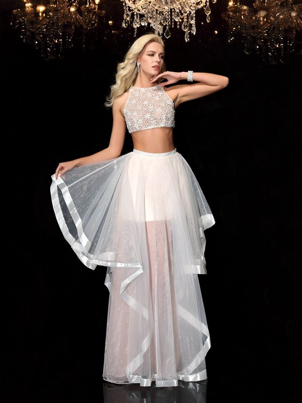 A-Line Scoop Applique Sleeveless Long Tulle Two Piece Dresses
